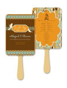 Fall Retro Birdcage Wedding Fan Programs by AprilTwentyFive, $180.72
