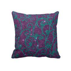 Purple and Turquoise Glitter Swirl Throw Pillow - Purple Bedroom Ideas