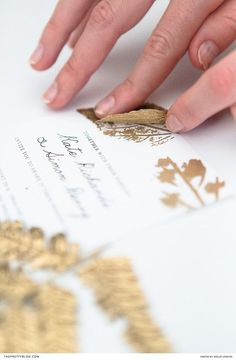 Easy DIY wedding stationery with gold leaf detailing and free printable design   Photography by Wesley Vorster Photography