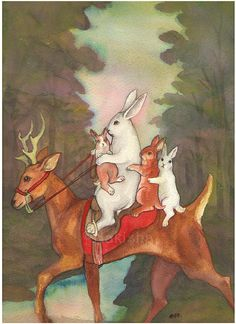 The Ride Home: The sun has set, and the Little White rabbit family is on their way home through the woods on their trusty deer. / Nakisha Elsje VanderHoeven / http://www.etsy.com/listing/55998094/the-ride-home-limited-edition-fine-art