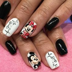 Minnie Mouse Nails, Mickey Mouse Nails, Disney Acrylic Nails, Long Acrylic Nails, Trendy Nails, Cute Nails, My Nails, Gel Nails French, French Manicures
