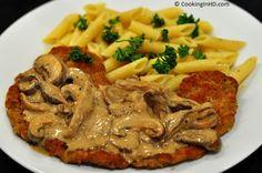 Veal Scallopini w Marsala, Gorgonzola & Mushroom Cream Sauce {recipe by Cooking in HD} Veal Scallopini, Chicken Scallopini, Veal Recipes, Cooking Recipes, Lamb Recipes, Healthy Recipes, Mushroom Cream Sauces, Mushroom Recipes, Beef