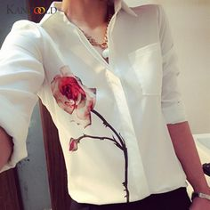 Women Long Sleeve Red Rose Print Blouse Office Lady Turn Down Collar Casual Chiffon Shirts White Breathable Cool Blouse 60729 #Affiliate