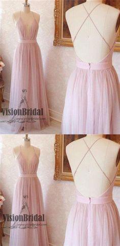 Pink Spaghetti Straps Deep V-Neck Crisscross Back A-Line Long Prom Dress, Sexy Prom Dress, VB0487 #promdress #promdresses #longpromdresses