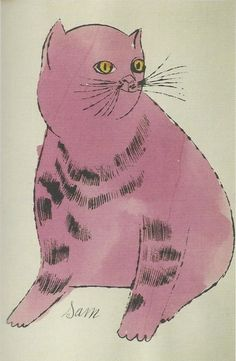 "phileas69: ""Andy Warhol Chat / Cat (Sam) Lithographie aquarellée / Watercolor lithograph 22 x 14 cm 1954 (plus de / more by Andy Warhol) """