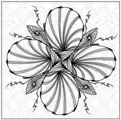 Zentangle Miniature Flower Art • Digitally Drawn By Hand • Jean Moore #Miniature