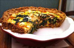 Spinach, feta, and sun-dried tomato quiche with whole wheat crust | Healthy quiche recipe | Whole wheat quiche crust