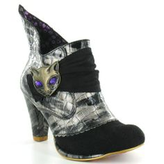 Irregular Choice Miaow 3432-02K Womens Leather Ankle Boots in Black & Pewter Grey at Scorpio Shoes