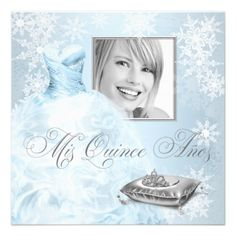 Winter Wonderland Quince Invitations | Blue Snowflake Photo Quinceanera Invitation from Zazzle.com