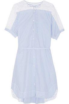 No. 21 Aria lace-trimmed cotton shirt dress   NET-A-PORTER