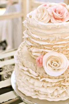 Chic Ruffled wedding cake.