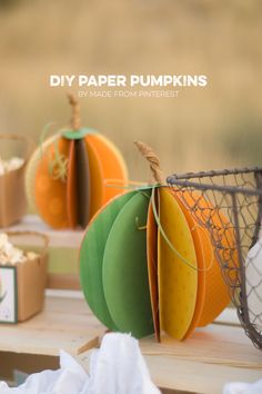 DIY Paper Pumpkins - easiest craft ever! Will be cute as apples for teachers too!