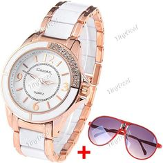 Female Fashion UV Protection Sun Glasses for Outdoor Activity   Female Quartz Watch with Alloy Strap KB-203722