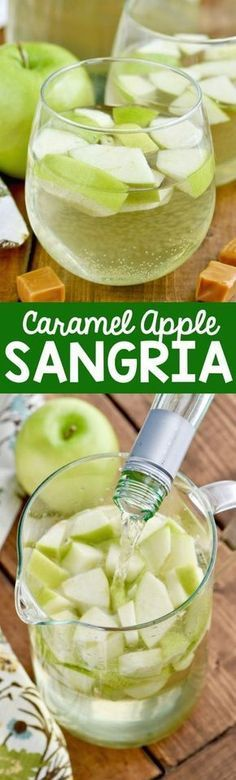 This Caramel Apple Sangria is only FOUR ingredients and it is delicious! It tast. This Caramel Apple Sangria is only FOUR ingredients and it is delicious! It tastes just like a caramel apple! Caramel Apple Sangria, Caramel Apples, Caramel Vodka, Fall Sangria, Sangria Wine, Sangria Cocktail, Cocktail Ideas, Yummy Drinks, Yummy Food