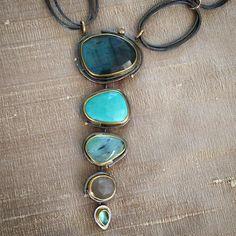 By the sea, by the sea, by the beautiful sea.  These colors conjure dreams of Tulum. #sydneylynchjewelry #necklaces #labradorite