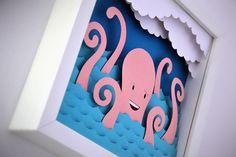 Sea papercut illustrations pulpo papel uno puesto sobre otro