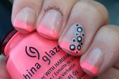Polka dots on neon French manicure