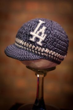 Los Angeles Dodgers Inspired Crocheted Baseball Cap by TheHookUp