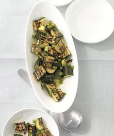 Grilled Zucchini Salad With Lemon and Scallions recipe from realsimple.com. #MyPlate #veggies #vegetables