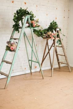 Ladders draped in blooms and foliage make an amazing backdrop! Industrial Bohemian Romance - Spencer Studios Photography