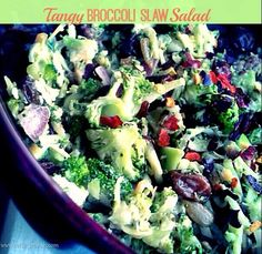 Immunity Boosting Recipe for Adrenal Fatigue and Gut health - Tangy Broccoli Slaw Salad #cleaneating