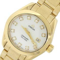 Ladies Omega Seamaster Aqua Terra 18k Gold Diamond Quartz Watch 110g