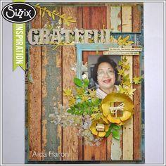 Sizziz Die Cutting Inspiration | Grateful Textured Scrapbook Page by Aida Haron