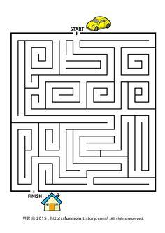 어린이 미로찾기게임-자동차 길찾기 미로 child maze game:: Maze Worksheet, Worksheets, Mazes For Kids, Crafts For Kids, Spot The Difference Kids, Olympiad Exam, First Grade Reading, Book Activities, Puzzle