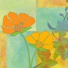 modern poppies needlepoint canvas