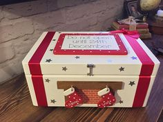 Personalised Christmas Eve Box with stockings christmas eve box handmade wooden do not open until 24th december