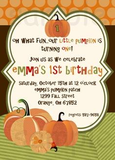 Pumpkin Birthday Party Invitation, Little Pumpkin, Orange, Brown & Green, Fall Birthday Invitation