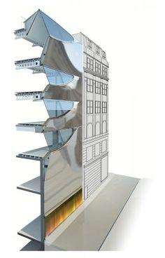 A building systems section. Amanda Levete Architect.