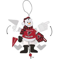 Atlanta Falcons Wood Cheering Snowman Ornament