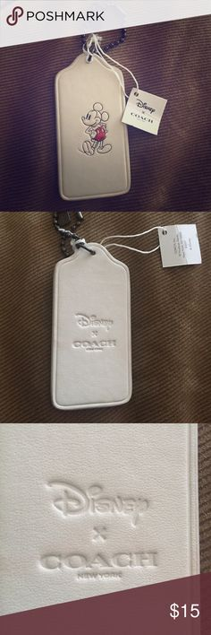 Coach Disney key chain purse Mickey Mouse White leather coach key chain for purse or keys with Mickey Mouse :) brand new never used. Price is firm. Coach Accessories