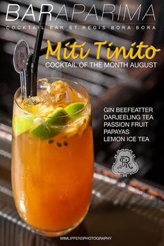 """Il cocktail del mese all'Aparima Bar del St. Regis Bora Bora: il """"Miti Tinito"""". Squisito mix di gin, frutto della passione e tè. Cheers! #SRBB #estate2014 #Polinesia"""