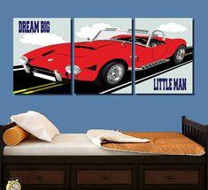 Dream Big Little Man Sports Car Wall Art Sports Car Art | Etsy Bathroom Wall Art, Kitchen Wall Art, Nursery Wall Art, Nursery Decor, Playroom Wall Decor, Boys Bedroom Decor, Gray Playroom, Bedroom Wall, Car Prints