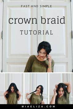 easy crown braid tut