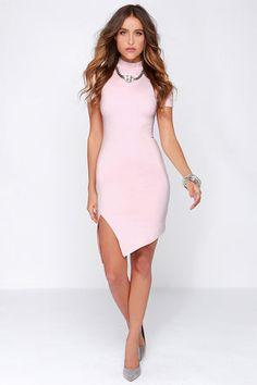 Chic Light Pink Dress - Bodycon Dress - Midi Dress - $48.00