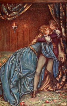"""It was their last hour, a madness of farewells."" Guinevere, by Eleanor Fortescue-Brickdale. (Idylls of the King, by Alfred Lord Tennyson.)"