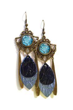Boucles d'Oreilles Cabochon - Nespresso - Pendantes - Bronze et aluminium - Bleues : Boucles d'oreille par cap-and-pap