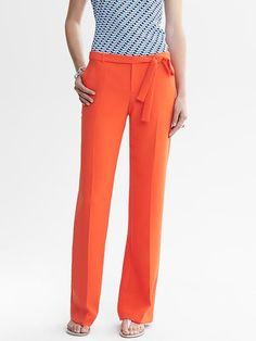Orange Belted Wide-Leg Pant
