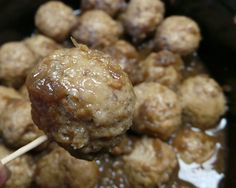 French Onion Meatballs - 1 Bag Frozen Meatballs, 2 Cans French Onion Soup.  Combine ingredients in a crockpot and heat on high for 2 hours or low for 4 hrs.