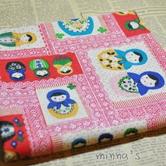 Linen Cotton Blended Fabric  Patch  Matryoshka red  by minnafabric, $2.80