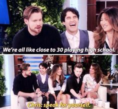Glee on Ellen 8/11 chris is the youngest