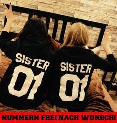 2x SISTER PÄRCHEN sweatshirt girls LOVE Pullover paar freundinen best friends BF