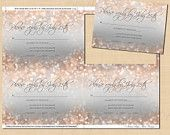Gray and Blush Shimmer Editable RSVP: 5 x 3.5 - Instant Download