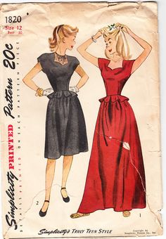 Vintage 1946 Simplicity 1820 The cap-sleeved bodice boasts a heartshaped neckline and is sleekly dart-fitted through the midriff. The cut-away