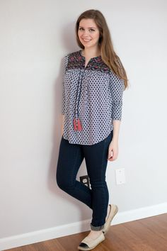 Ezra Cuballa Embroidery Knit Top in Navy - Stitch Fix June 2015 Review & Styling
