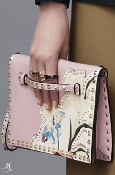 PRE-FALL 2016 Valentino. Pink studded flower embellished bag. Stunning!