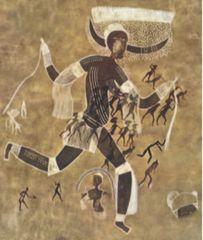 Running Horned Woman. Pigment on rock. Tassili n' Ajjer, Algeria. (6000-4000 BCE)